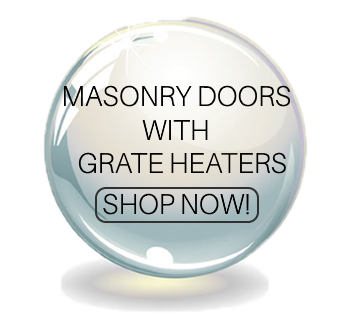 Masonry doors with grate heaters