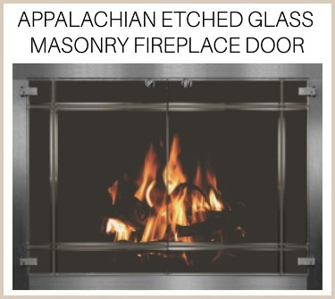 Etched glass window panes make this Appalachian masonry fireplace door unique - buy now!
