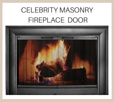 Celebrity Textured Black fireplace door for masonry fireplaces - buy now!