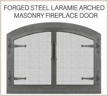 Handcrafted Forged Steel Laramie arched door for masonry fireplaces - buy now!