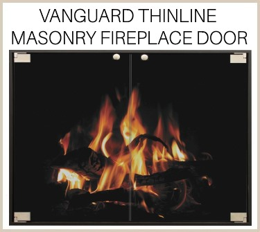 Minimalist's delight - the Vanguard Thinline replacement fireplace door for masonry fireplaces. Buy now!