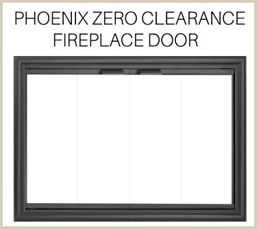 Buy the overlap fit Phoenix prefab fireplace door for your zero clearance unit!