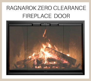 Luxurious anodized black Ragnarok Zero Clearance Fireplace door - buy now!