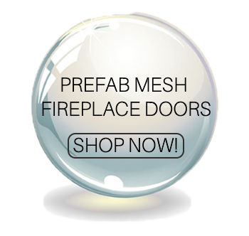 Prefab mesh fireplace doors