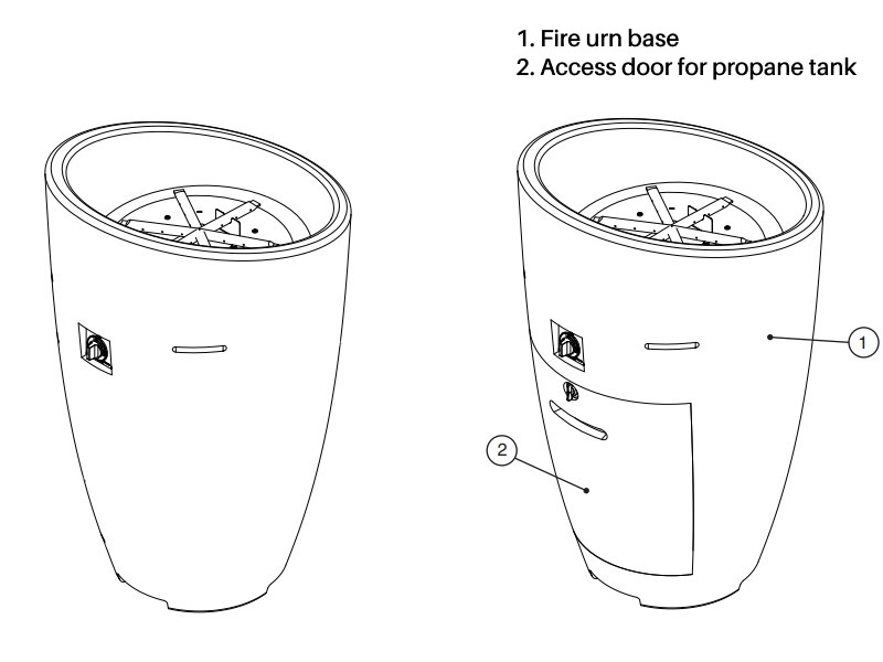 The Eclipse fire urn - shown with and without a propane tank access door