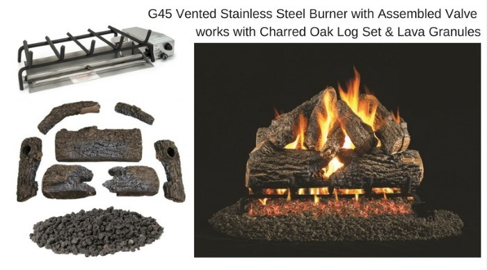 G45 Vented Stainless Steel Burner with Assembled Valve, Log Set, and Lava Granules