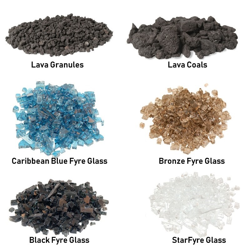 Choose between Black Fyre Glass, Bronze Fyre Glass, Caribbean Blue Fyre Glass, Star Fyre Fyre Glass, Lava Granules, or Lava Coals.
