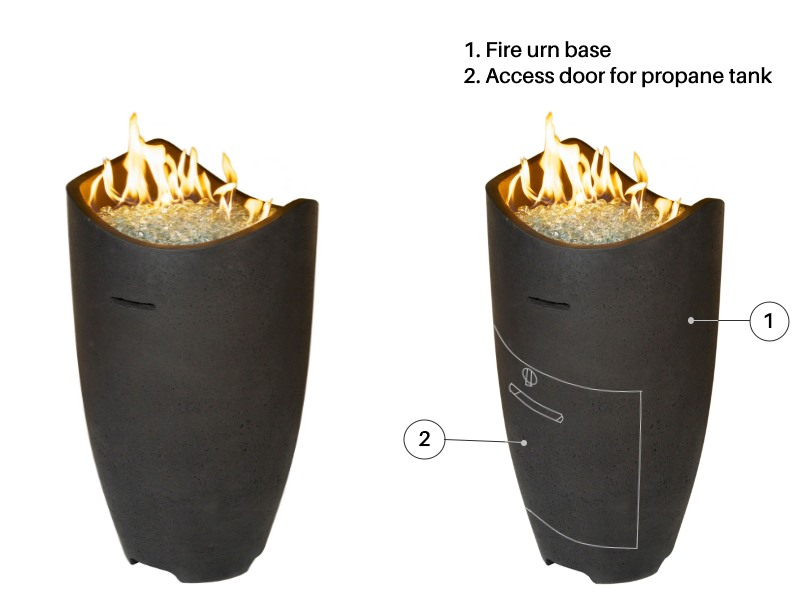 The Wave fire urn - shown with and without a propane tank access door
