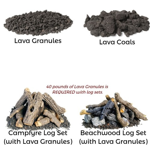 Add lava rock or lava rock with a log set!