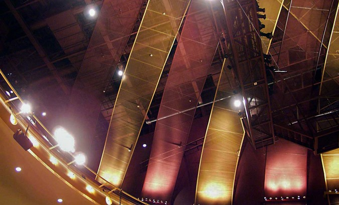 """Acoustics sound even better at the River Center for Performing Arts with this functional dropped """"mesh ceiling""""!"""