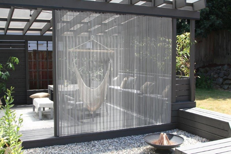 Use architectural mesh panels for privacy or partitions between living spaces and entertainment areas!