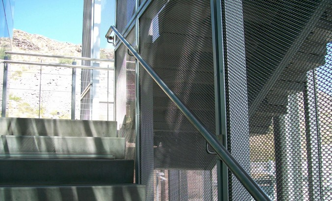 Stairwell mesh provides added protection for accidentals slips and falls.