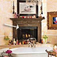 Christina Aguilera's bathroom fireplace is a zero clearance fireplace.