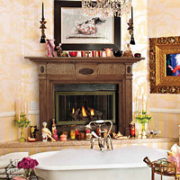 Christina Aguilera's fireplace with a wooden mantel