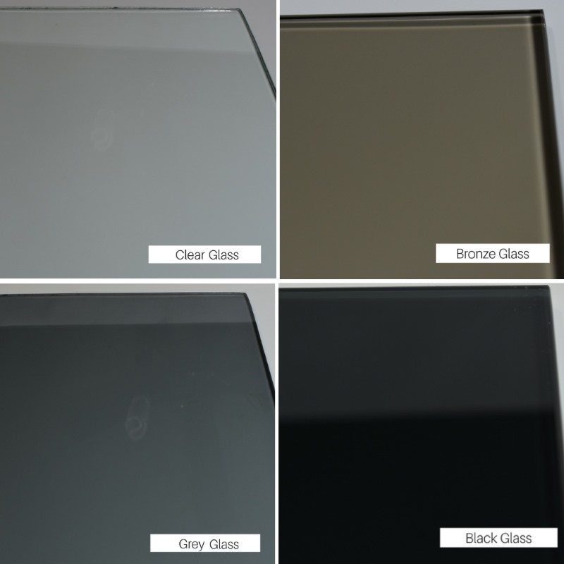 Clear, bronze, grey, and black tempered glass tints available.