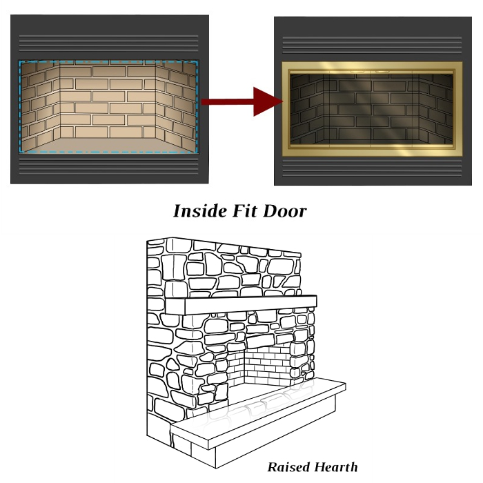 Inside Fit Door with Raised Hearth