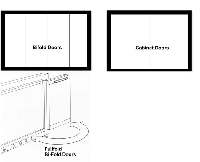 Bifold or cabinet doors for your fireplace doors.