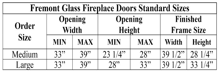 Fremont Glass Door Sizing Chart
