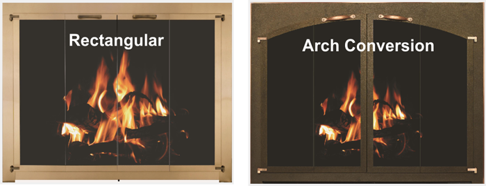 Rectangular or arch conversion for your fireplace door?