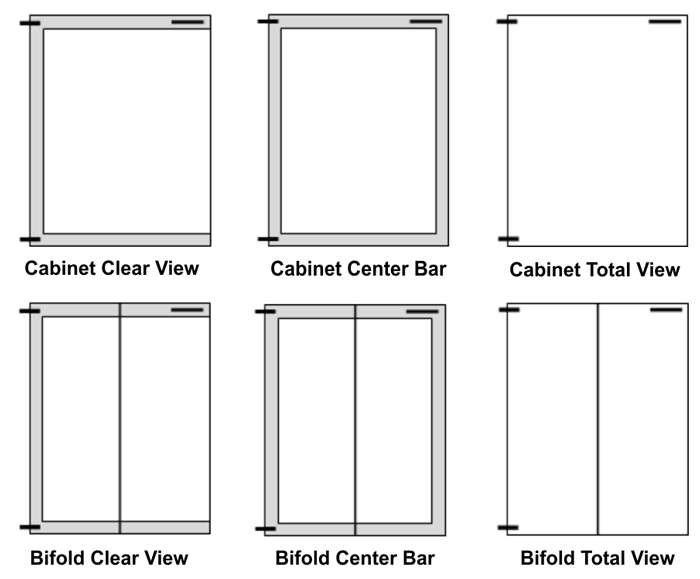 Choose which style of glass door you'd like