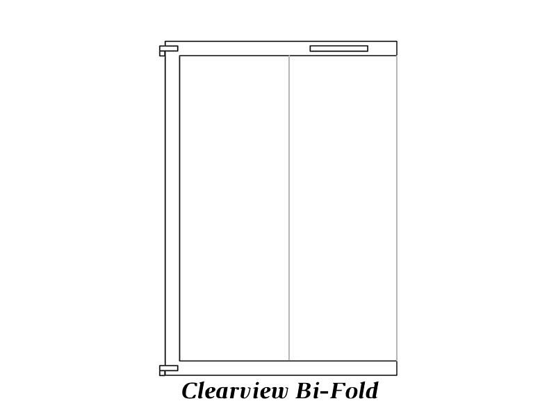 Clear view bi-fold door