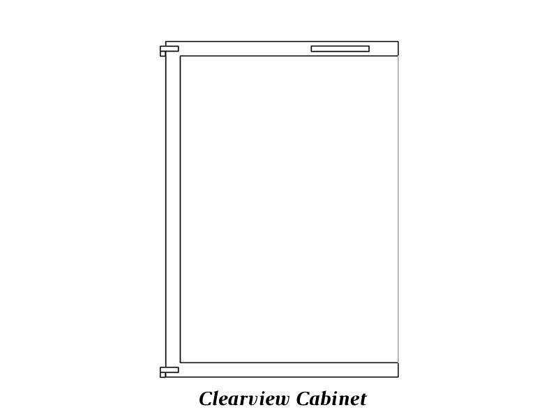 Clear view cabinet door
