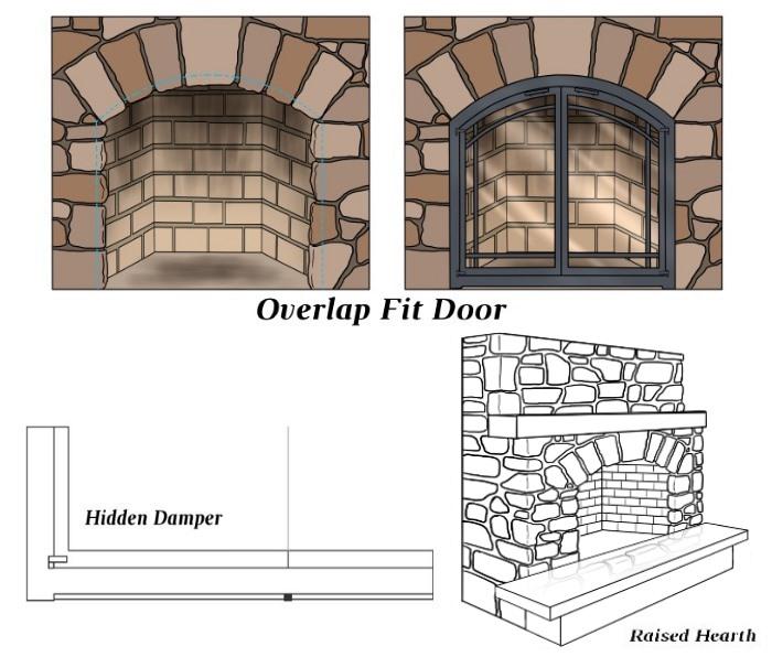 Overlap Fit - Hidden Damper - Raised Hearth