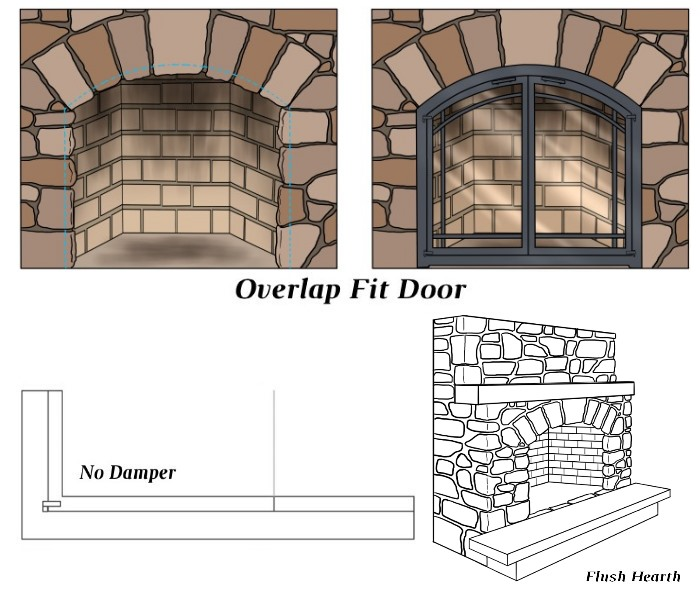 Overlap Fit - No Damper - Flush Hearth