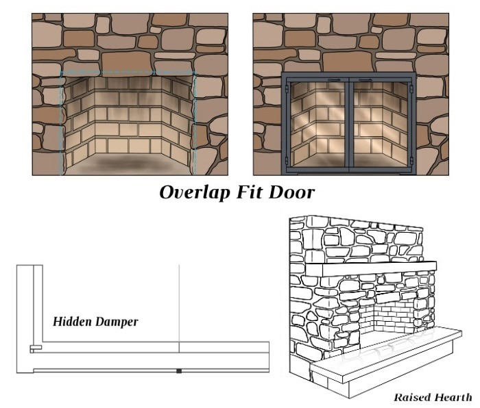 Overlap Fit - Hidden Damper - Raised Hearth