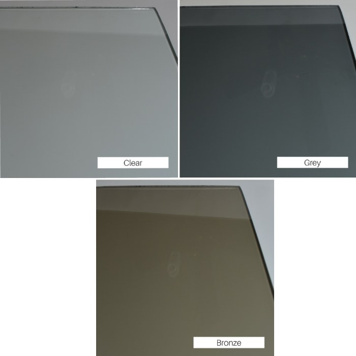 Glass tints available include clear, grey, and bronze