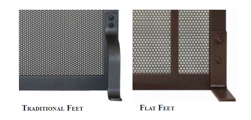 Choose between traditional or flat feet style for your freestanding fireplace screen
