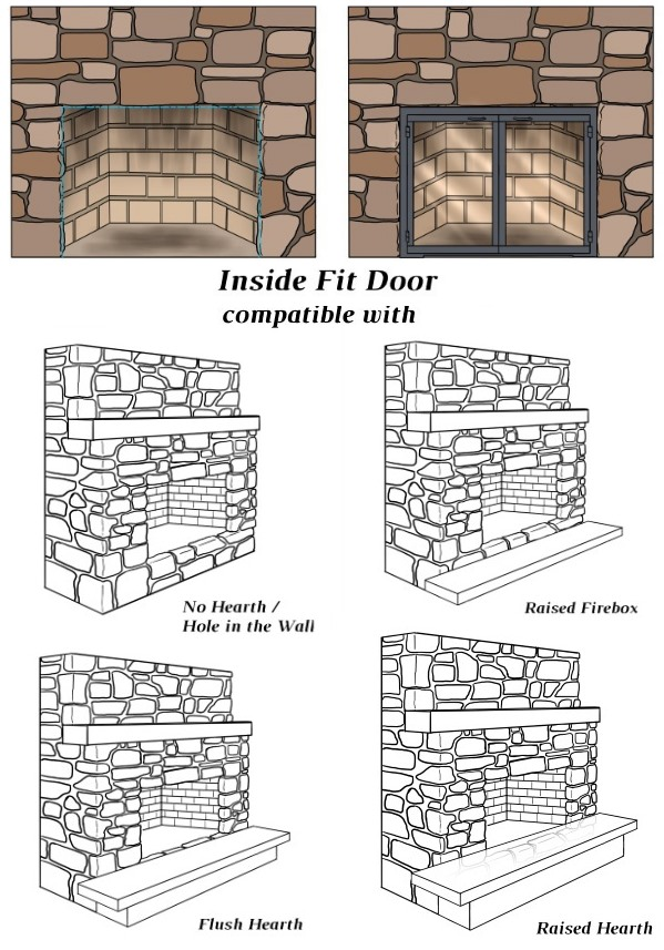 The Thin Line inside fit door is compatible with four hearth positions!