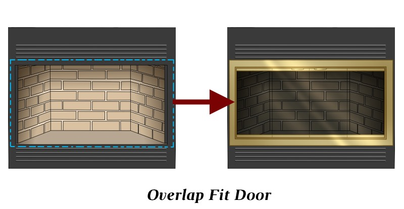 Overlap fit for 4 sided zero clearance fireplace door
