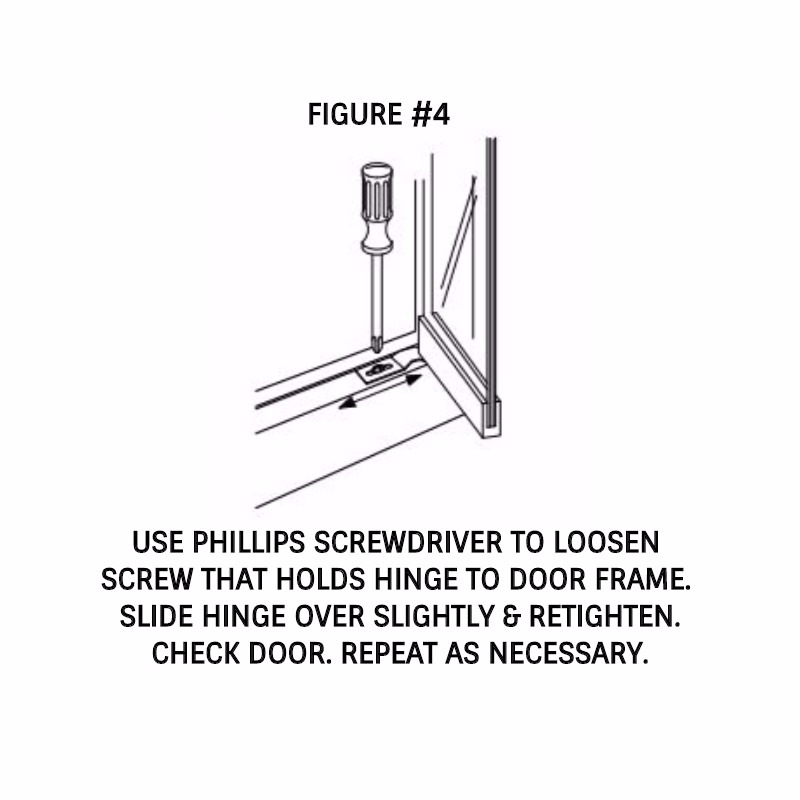 Use Phillips screwdriver to loosen & retighten screw in hinge.
