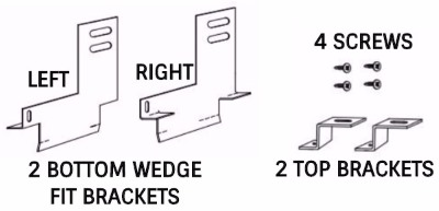 Wedge fit bracket kit for factory built fireplaces