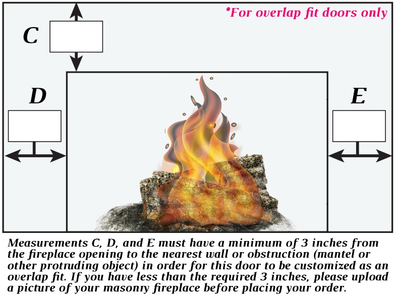 C, D, and E must have a minimum of 3 inches from the fireplace opening to the nearest wall or obstruction to customize as an overlap fit door. DOES NOT APPLY TO INSIDE FIT DOORS.