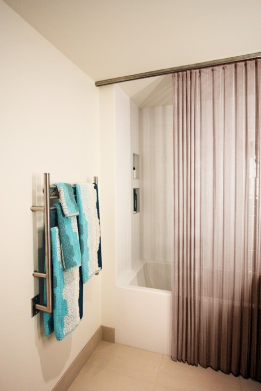 Antique Bronze shower curtain offers a dramatic, luxurious effect!