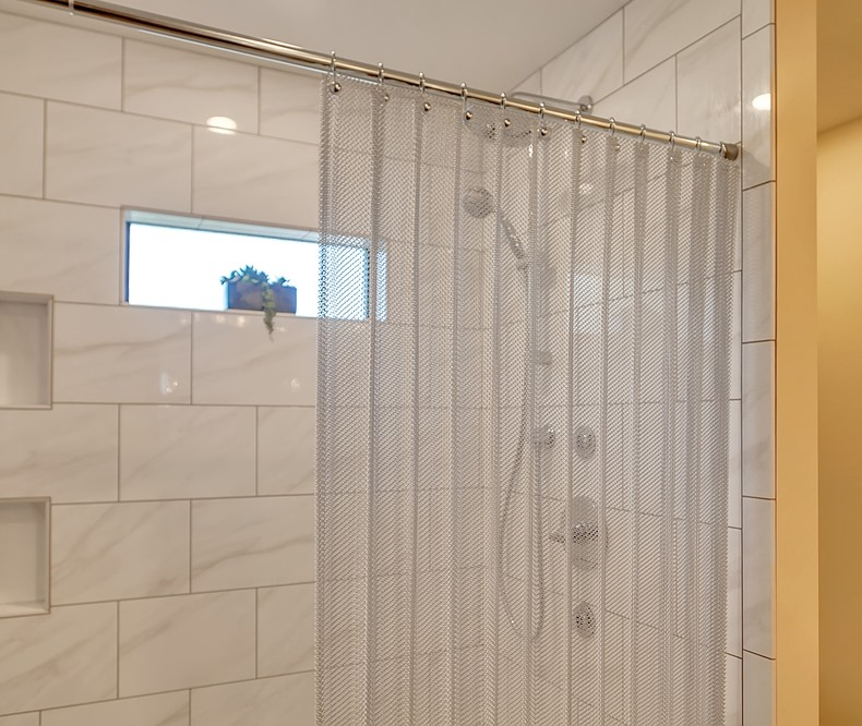 Brite Aluminum metal mesh curtain adds texture and brilliance to your shower experience!