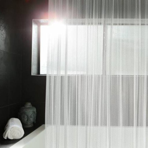 Soft and subtle Brite Pearl Grey is an amazing finish color for aluminum shower curtains!