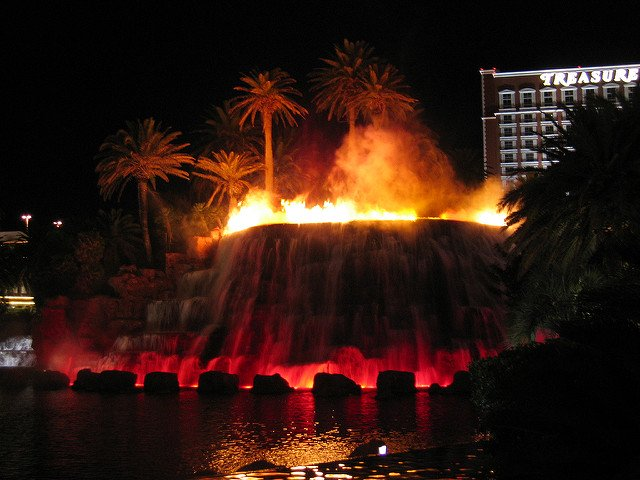 Some of our commercial clients will use multiple fire on water manifolds to create an impressive display such as this volcano!