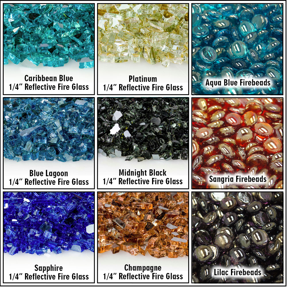 Fire glass and fire beads available for the element series burner from Hargrove Gas Logs