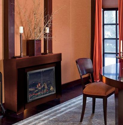 Giorgio Armani's fireplace with the Kingston fireplace door