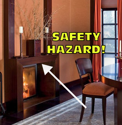 Giorgio Armani's dining room fireplace is a safety hazzard.