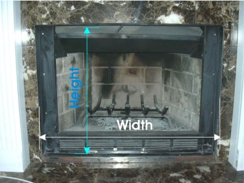 Measuring for Prefab Fireplace Door Example 3