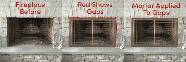 Ledgestone inside fit fireplace door example