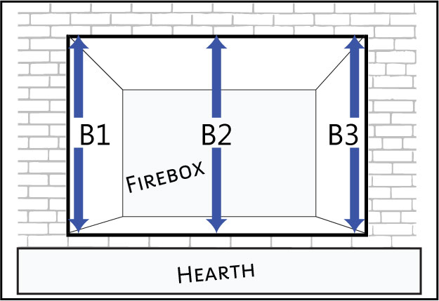 Measure the height of your fireplace at the left, right and middle.