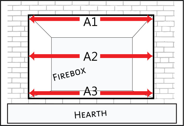 Measure the width of your masonry fireplace at the top, middle and bottom for the most accurate measurements.