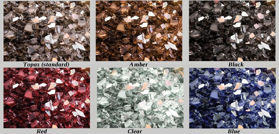 Glass ember bed colors: topaz (standard), amber, black, red, clear, blue