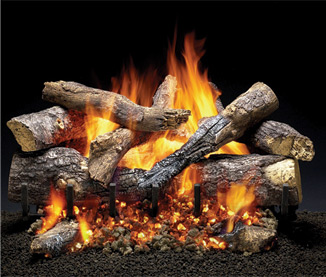 24 inch Grand Oak Gas Log Set with IntelliFire Hearth Kit