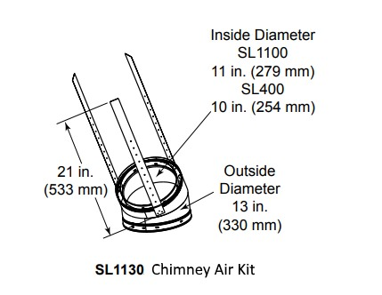 SL1100 Chimney Air Kit for 42 inch Castlewood outdoor wood fireplace
